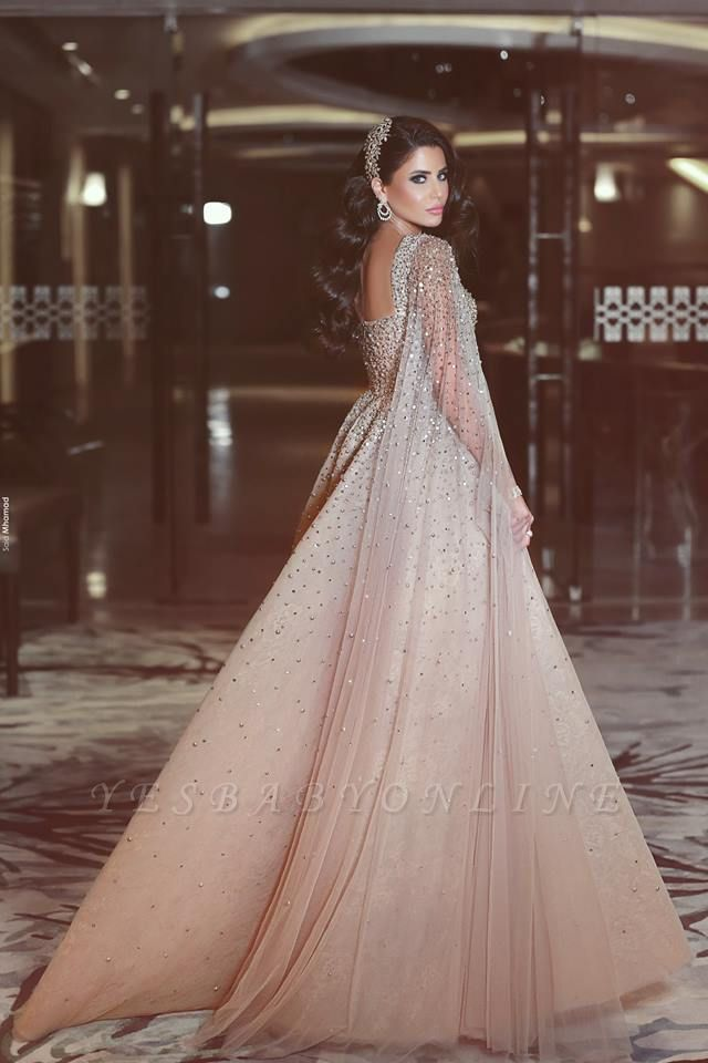 Luxury Champagne Prom Dresses Sweetheart Neckline Beading A-line Evening Gowns