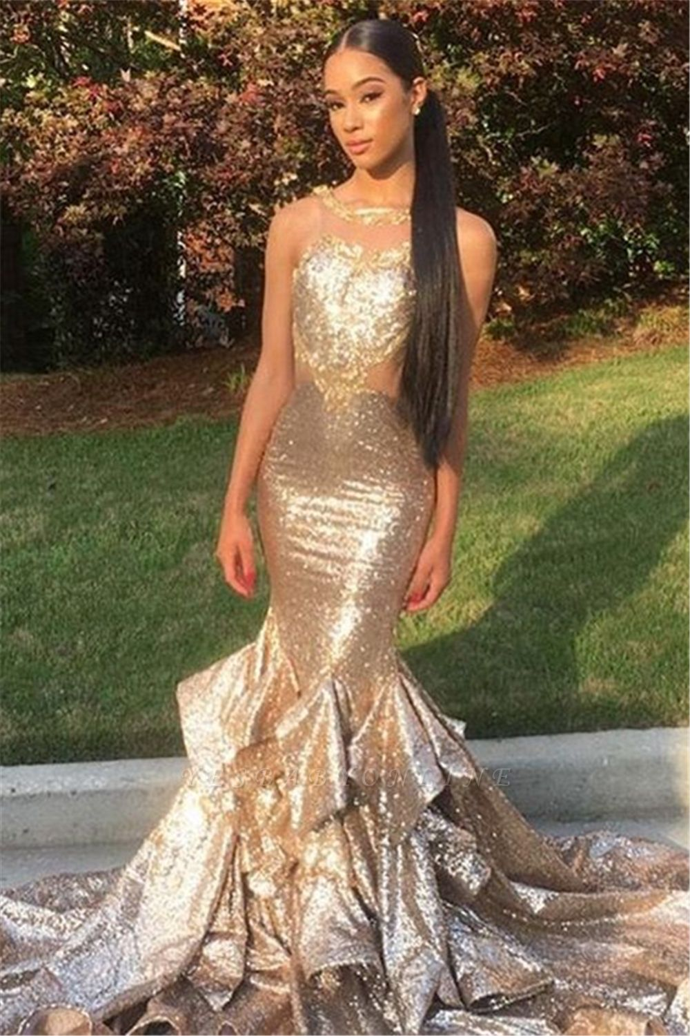 Gold Sequins Mermaid Prom Dresses   Sleeveless Long Ruffles Evening Gowns