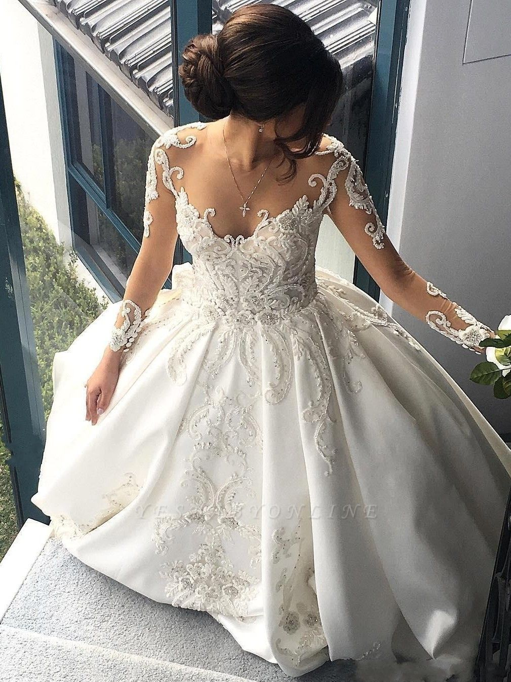 Charming Princess Ball Gown Wedding Dresses | See Through Long Sleeves Chapel Train Bridal Gowns