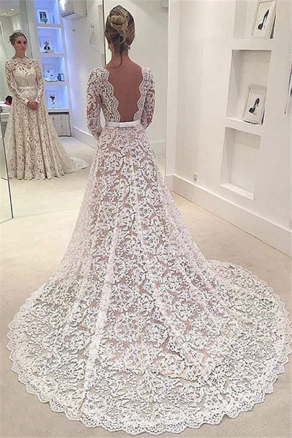 A-Line Bowknot Backless Lace Long Sleevess Glamorous Wedding Dress