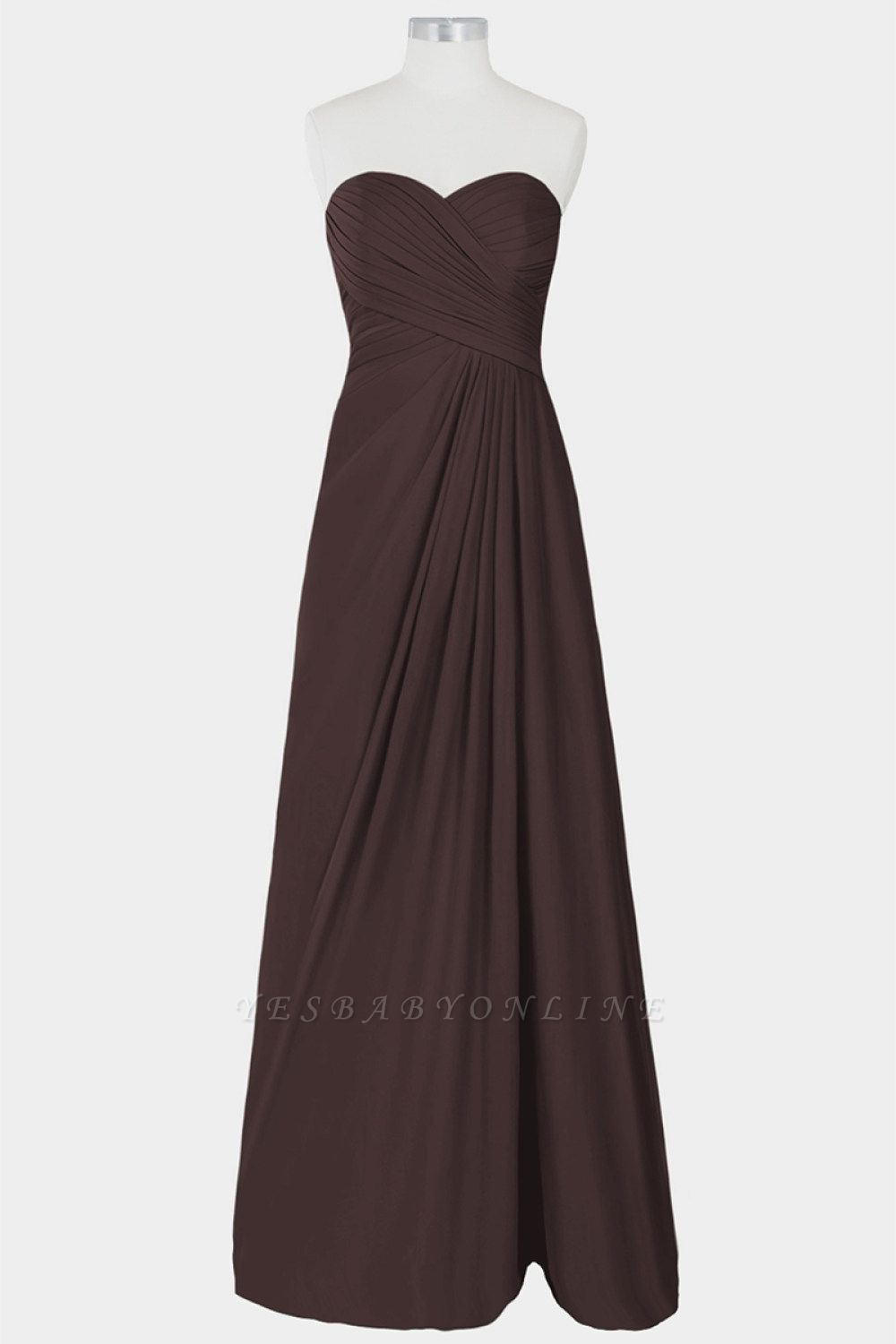 A Line Chiffon Strapless Sweetheart Floor Length Bridesmaid Dresses with Ruffles