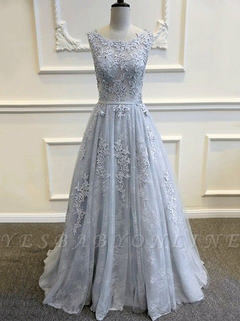 Lace-Appliques Sleeveless Long Backless A-line Prom Dresses