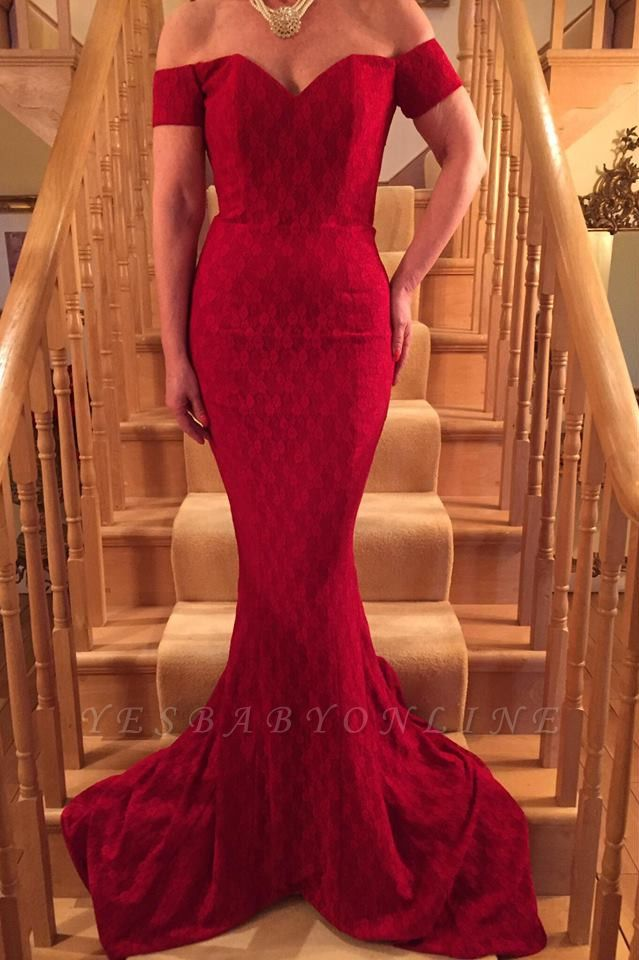 Long Red Mermaid Short-Sleeve Lace Glamorous Prom Dress