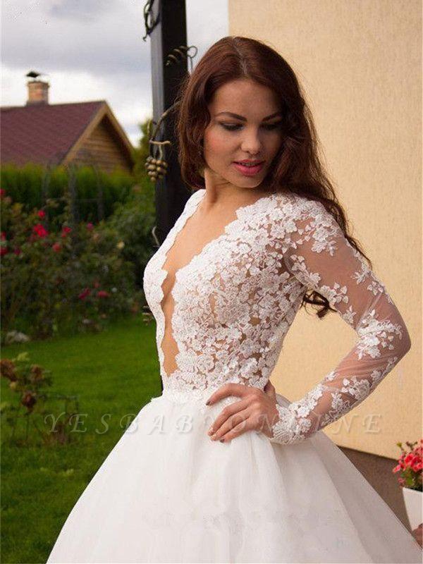 Long Sleeves Tulle Zipper Glamorous Princess Lace Button Wedding Dress