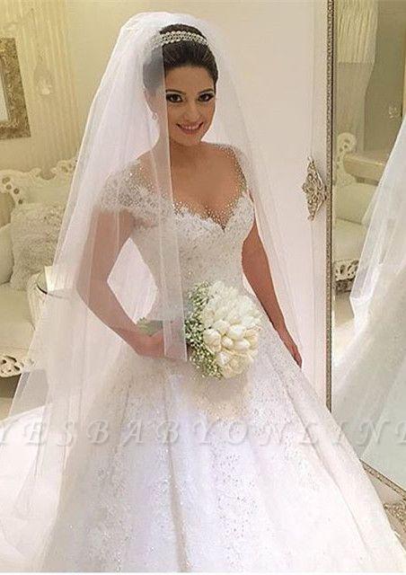 Gown Glamorous Cap Sleeves Beading Ball Wedding Dresses