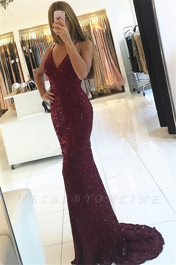 Sexy Burgundy Lace Prom Dresses V-Neck Open Back Mermaid Evening Gowns