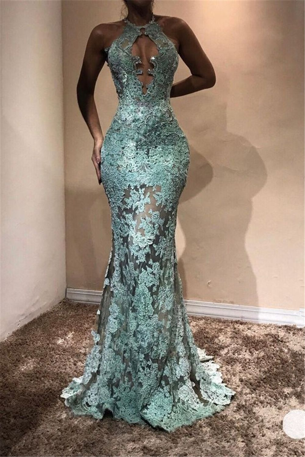 Halter Sleeveless Mermaid Prom Dresses | Lace Appliques Long Evening Gowns