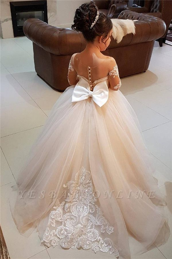 Lace Long-Sleeve Romantic Flower Ball Gown Girls Dresses