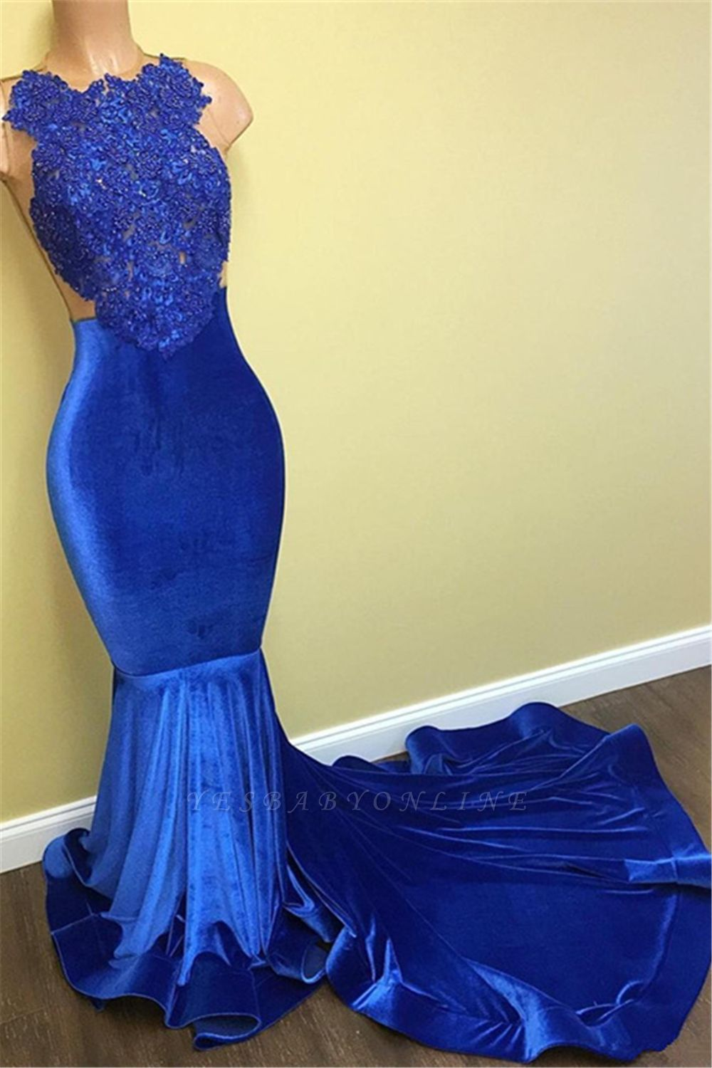 Blue Lace Mermaid Prom Dresses | Sleeveless Long Evening Gowns