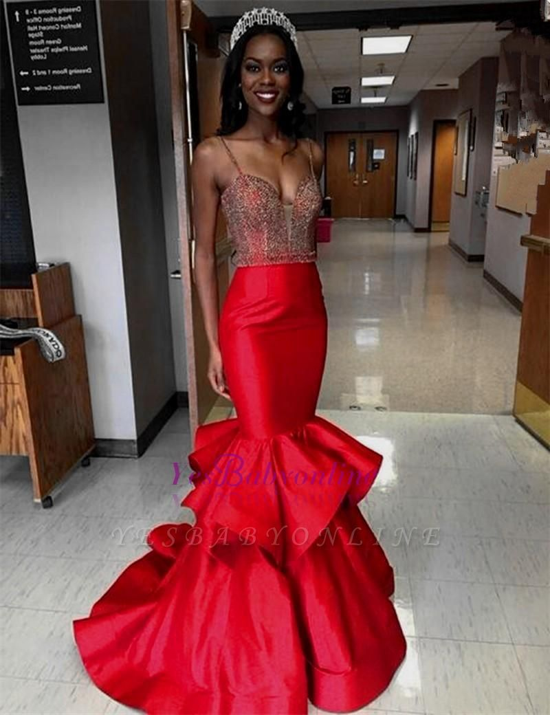 Tiered Sexy Red Sleeveless Mermaid Spaghetti-Straps Crystal Prom Dress