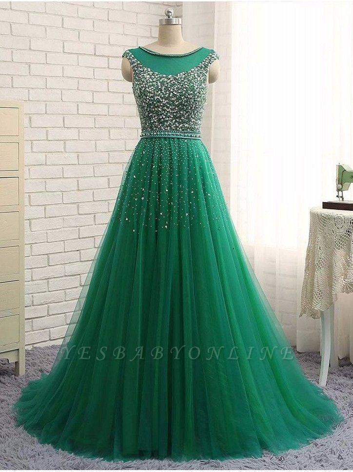 Green Sleeveless A-Line Beaded Brilliant Scoop  Prom Dresses