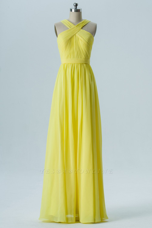 A Line Chiffon Floor Length Bridesmaid Dresses With Ruffle