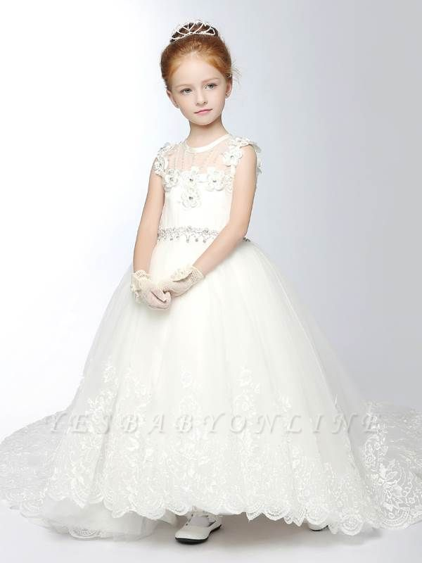 Tulle Scoop Appliques Ankle-Length Flower Girl Dress with Chapel Train
