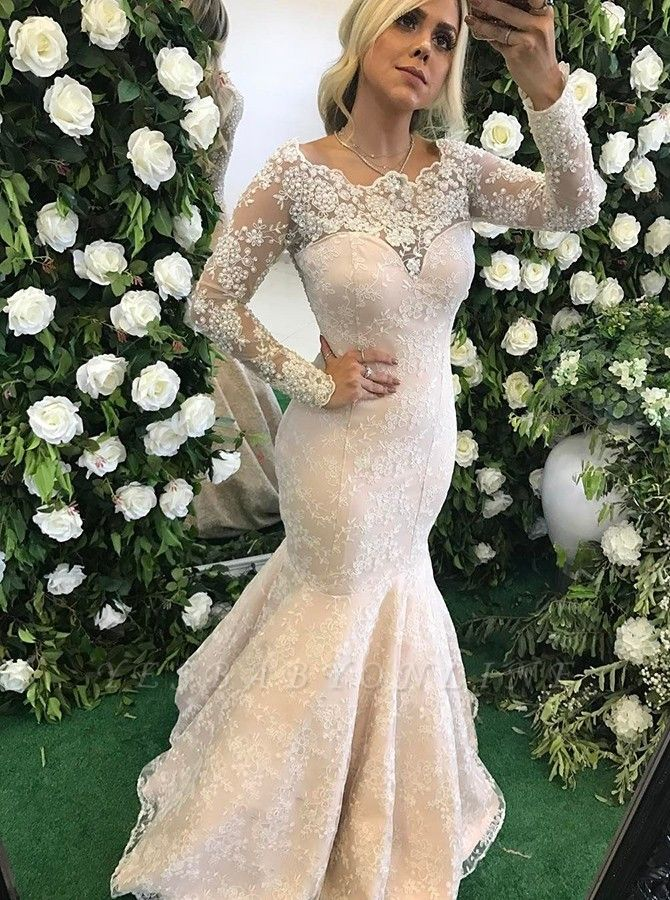 Elegant Mermaid Evening Dresses | Lace Long Sleeves Prom Dresses with Pearls