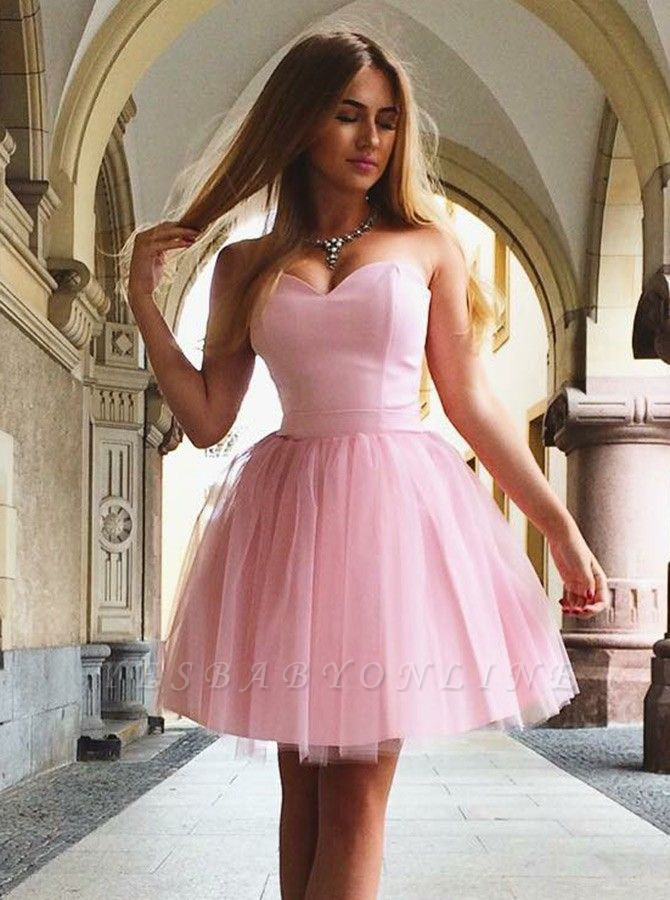 Sweetheart Pink Homecoming Dresses | A-Line Sleeveless Cocktail Dresses