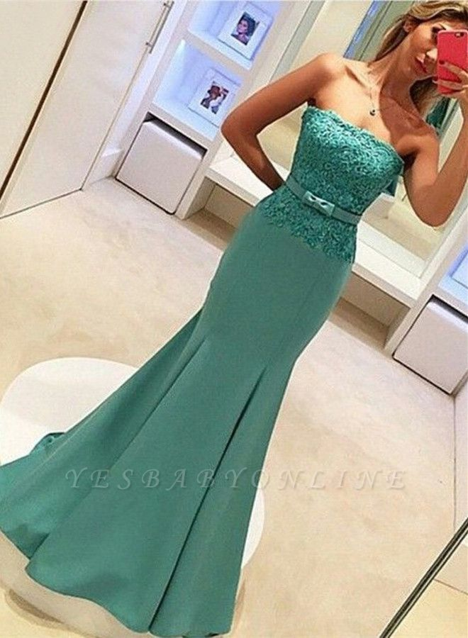 2019 Strapless Mermaid Prom Dresses Lace Bowknot Ruched Evening Gowns