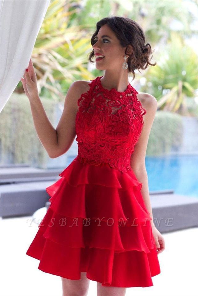 Sexy Red Lace Sleeveless Homecoming Dress Short Layers Cocktail Gowns