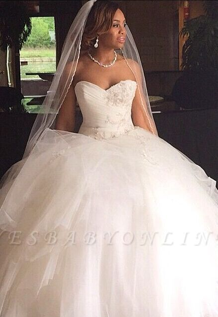 Ball Gown Sweetheart Neck Layers Wedding Dresses