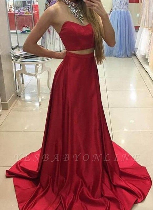 High Neck Crystals Two-Piece Sleeveless Red Long A-line Prom Dresses