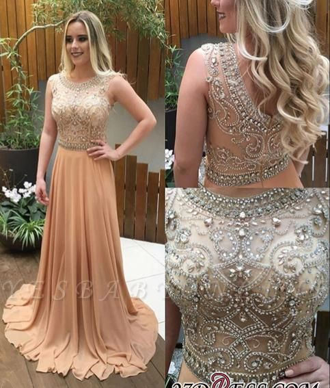A-line Long Champagne Luxury  Crystals-Beaded Prom Dresses