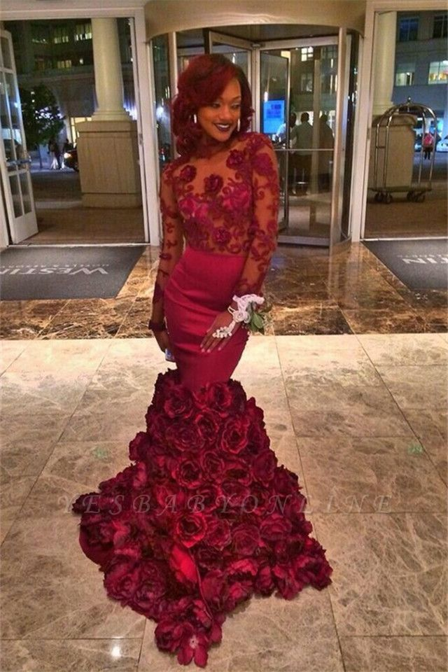 2019 Burgundy Mermaid Prom Dresses Long Sleeves Lace Appliques Rose Flowers Train Evening Gowns