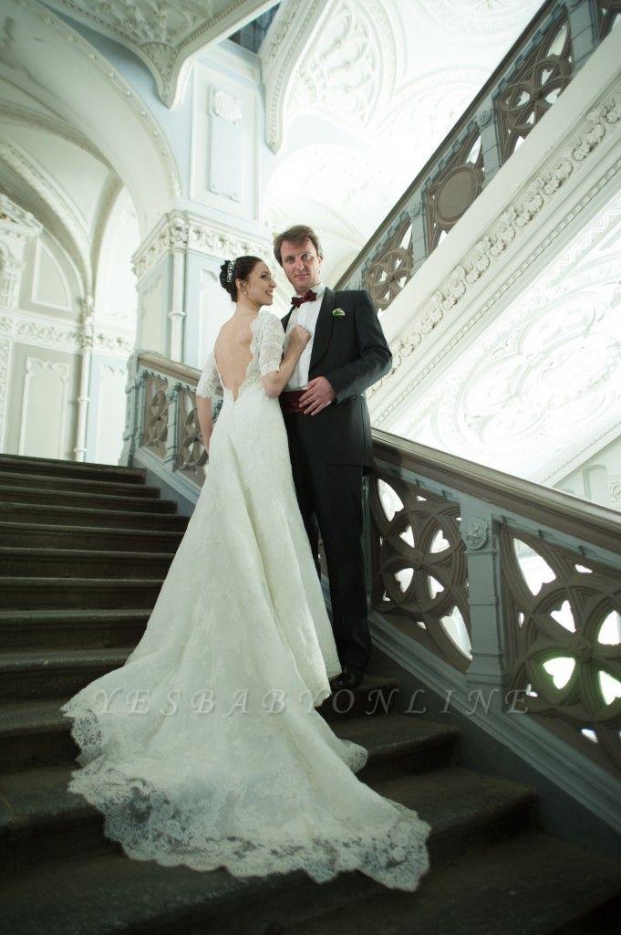 Train Stunning Lace Open-Back Half-sleeve Wedding Dress