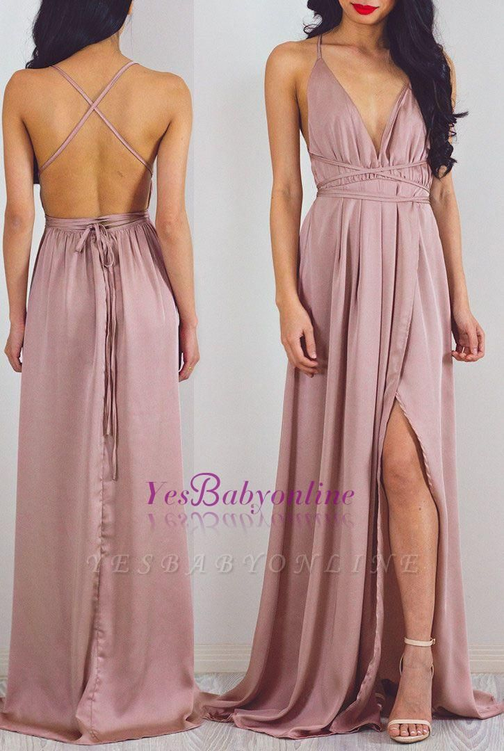 Floor-Length Halter Split Charming V-Neck Prom Dress