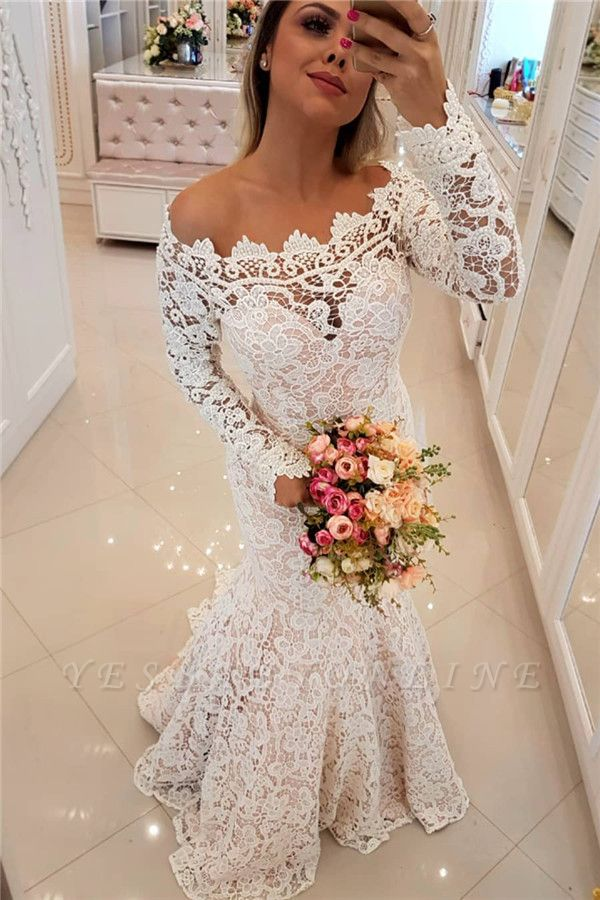 Off The Shoulder Sexy Mermaid Lace Wedding Dresses | Long Sleeves Cheap Bridal Dress
