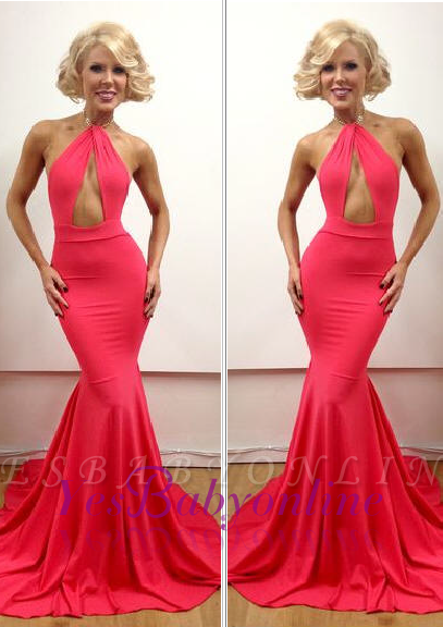 Mermaid Peach Open-Back Sexy Floor-Length Sleeveless Evening Gowns