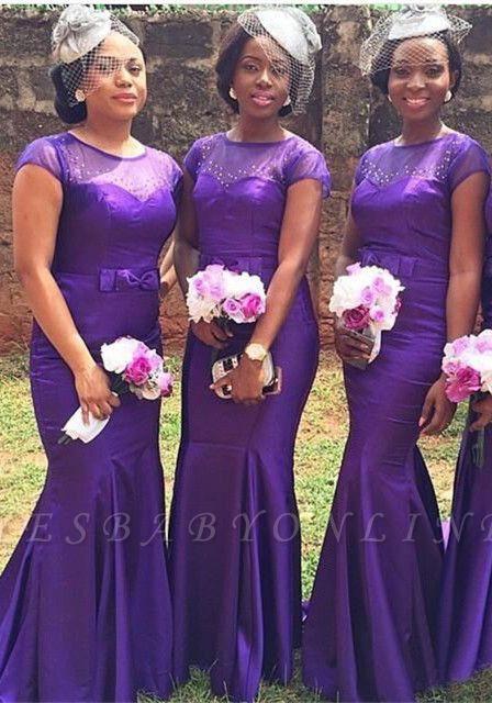 PurpleShort-Sleeves Beadings  Bow Sexy Mermaid Popular Bridesmaid Dresses