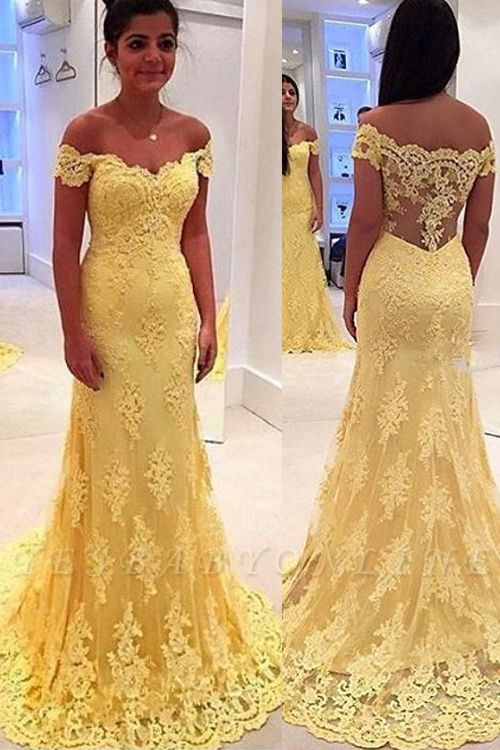 Mermaid Lace Yellow Off-the-Shoulder Prom Dresses
