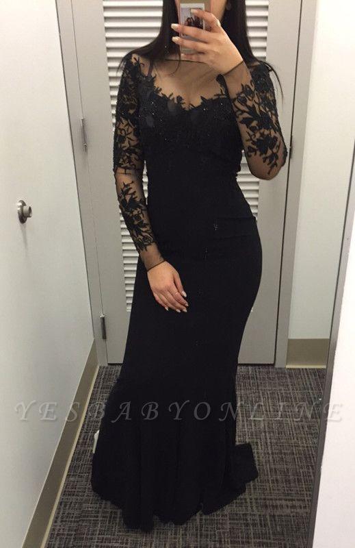 2019 Black Long Sleeves Prom Dresses Bateau Neck Mermaid Evening Gowns