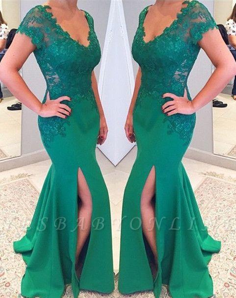 Short Lace Sleeves V-neckline Applique Mermaid Green Prom Dress