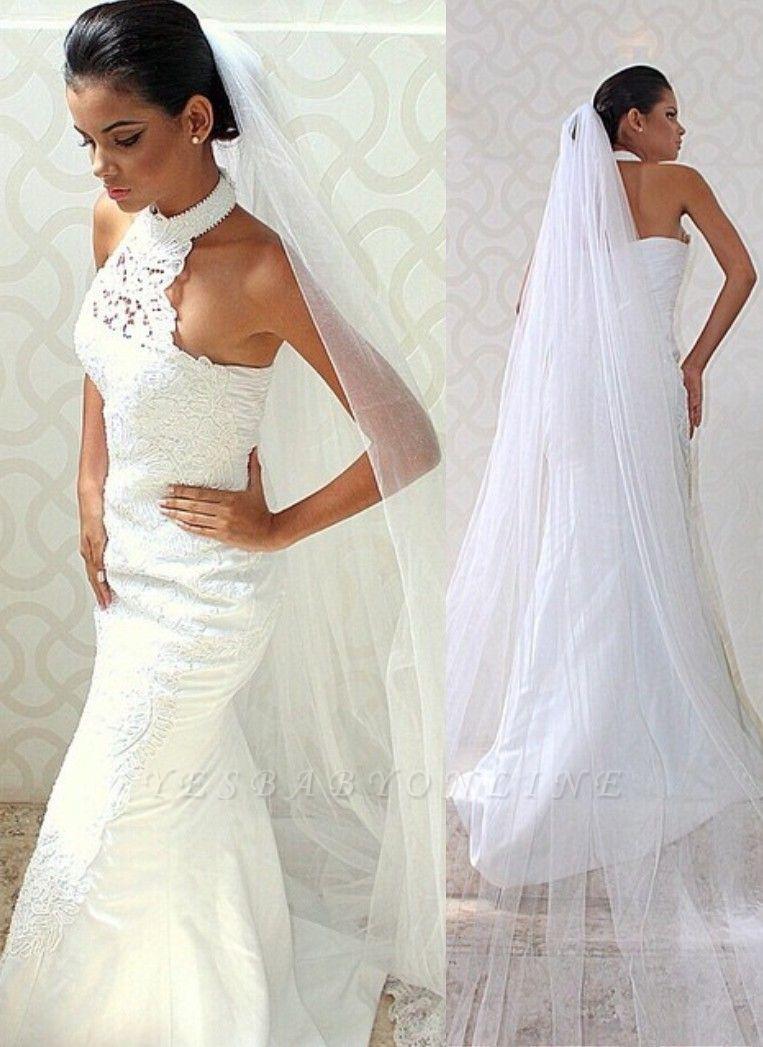 Sleeveless Court-train Chic Lace Halter Sexy Mermaid Wedding Dress