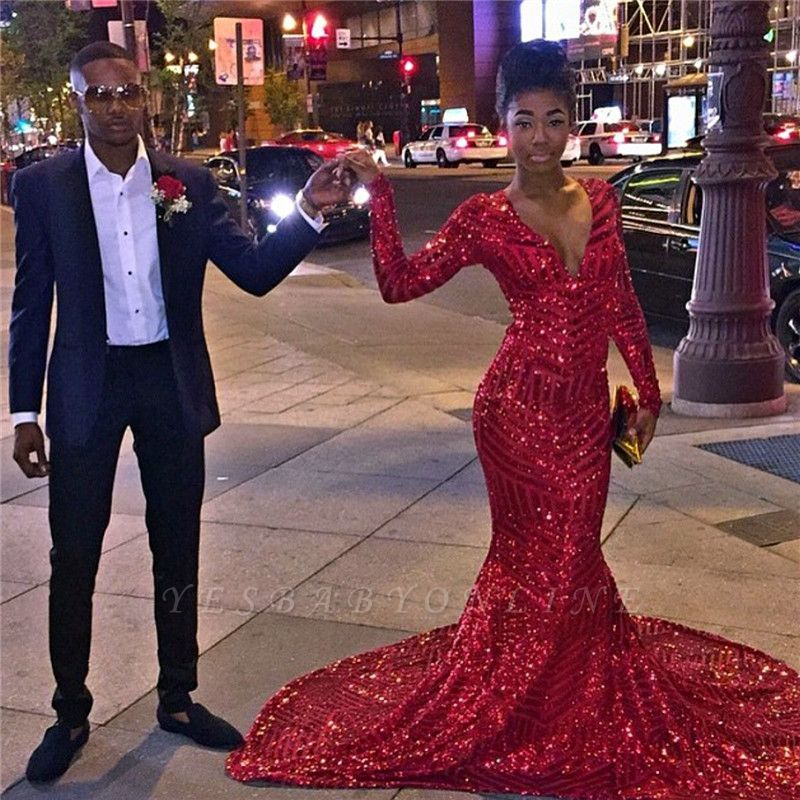 Mermaid Long-Sleeves Long Shiny V-Neck Red Prom Dresses