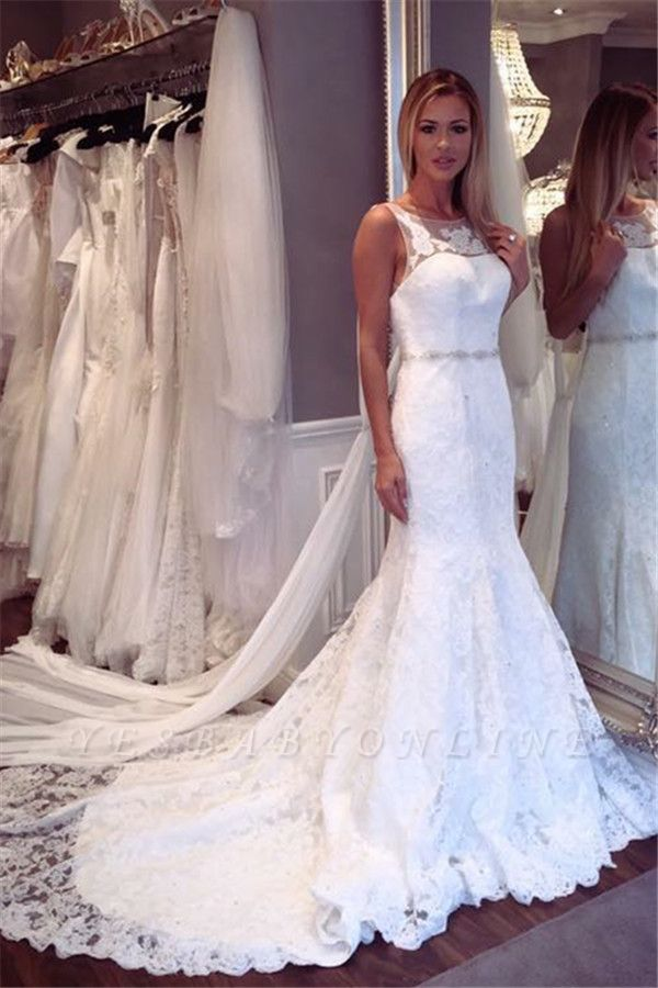 Glamorous Lace Sexy Mermaid Wedding Dresses | Sleeveless  Open Back Crystall Bridal Gowns
