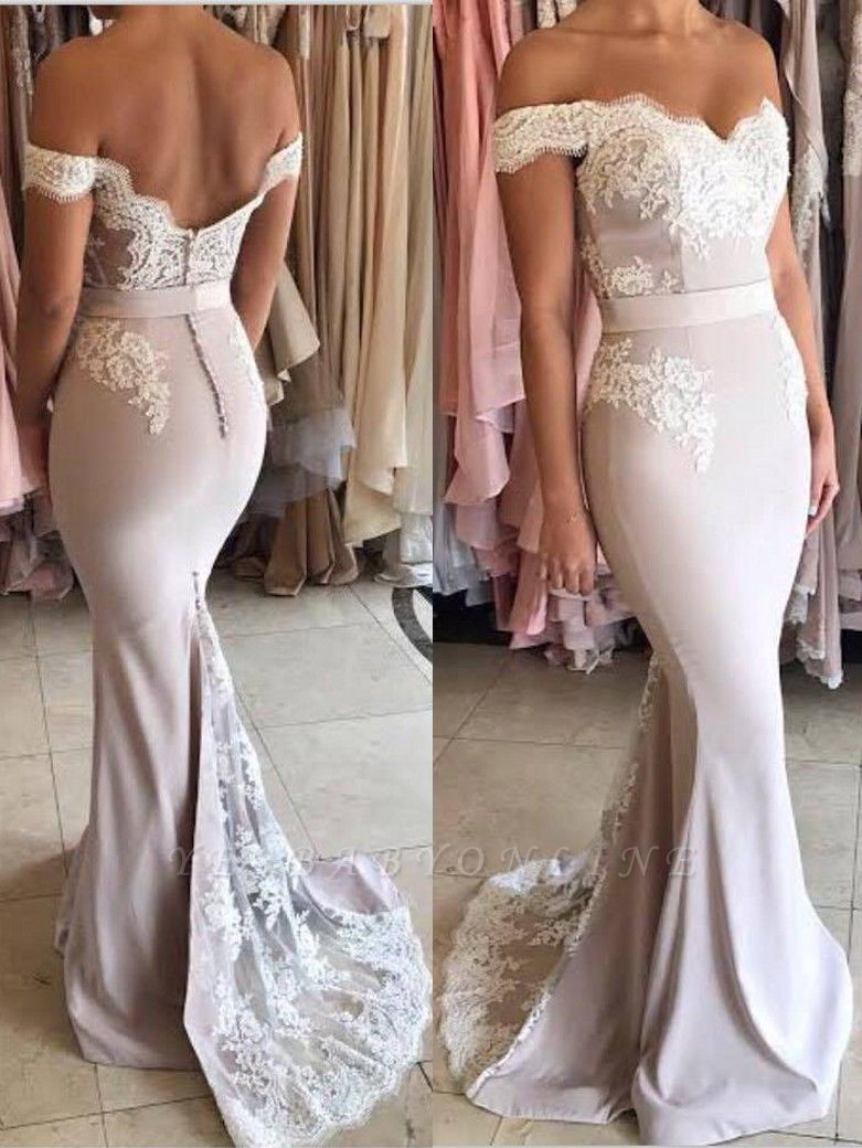 Elegant Lace Appliques Evening Gowns | Off-the-Shoulder Sash Formal Dresses