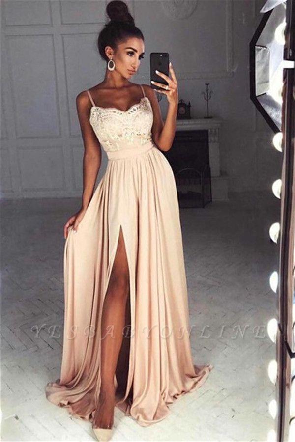 Gorgeous Split Chiffon Prom Dresses | Sexy Spaghetti Straps Evening Gowns