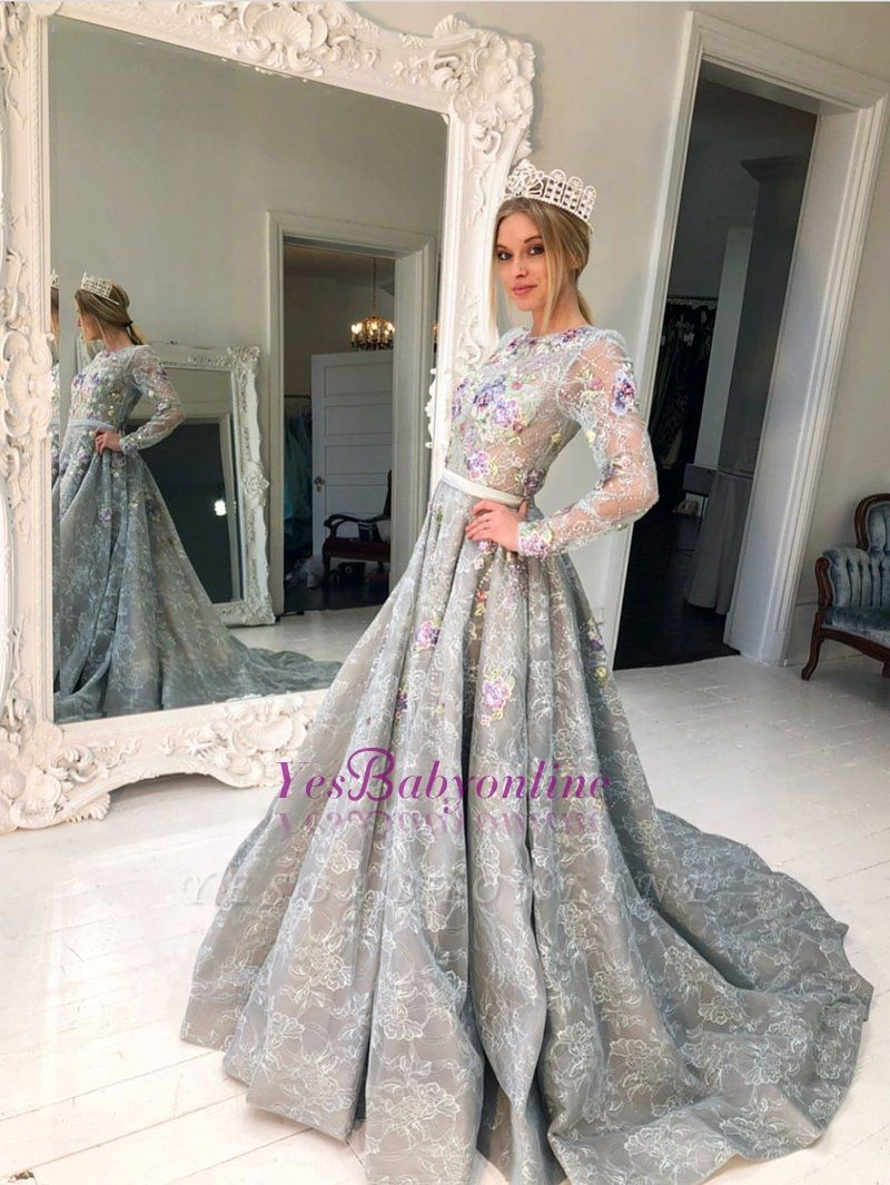Sleeve Dresses Long Lace Evening Silver A Line Evening Gowns