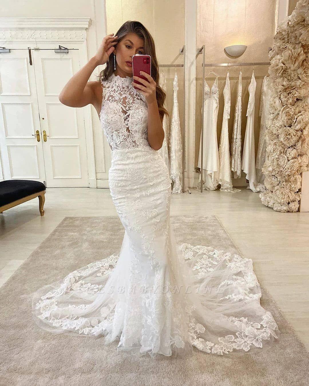 Elegant High Neck Lace Fiteed Mermaid Floor Length Wedding Dresses