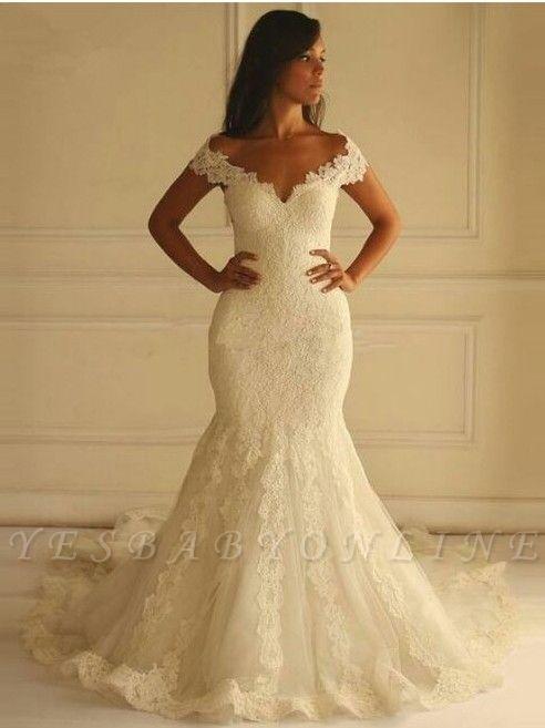 Glamorous Lace-Applique Off-The-Shoulder Mermaid Wedding Dresses