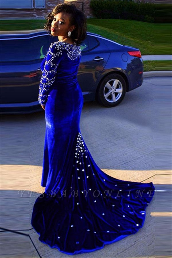 V-Neck Crystal Sexy Mermaid Royal-Blue Long-Sleeves Velevt Prom Dress