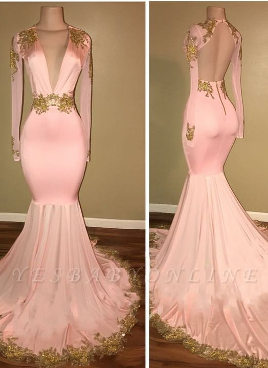 Sexy Mermaid Prom Dresses Deep V-Neck Long Sleeves Gold Appliques Evening Gowns