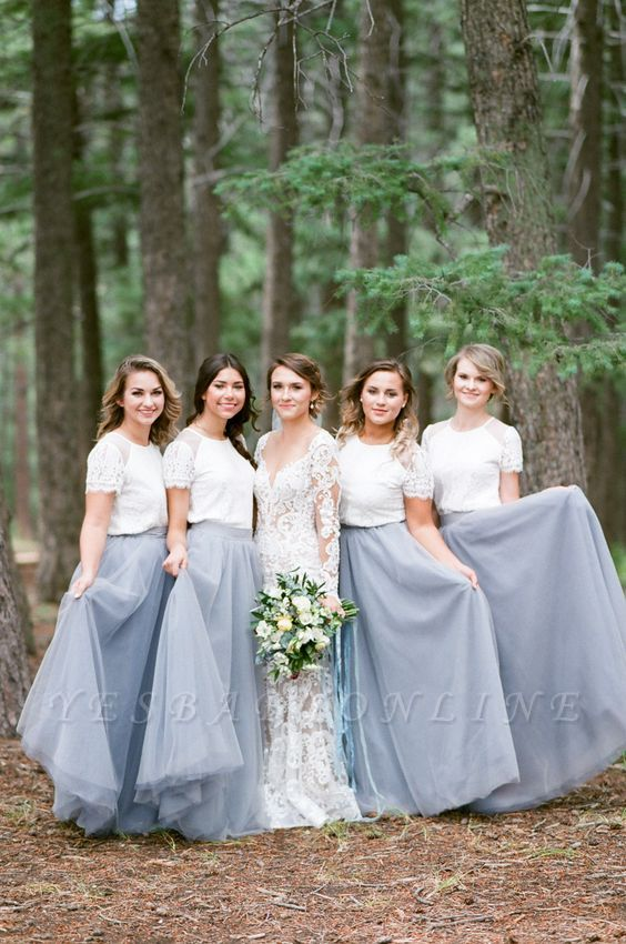 Long Short-Sleeve Silver 2019 White Lace Bridesmaid Dresses