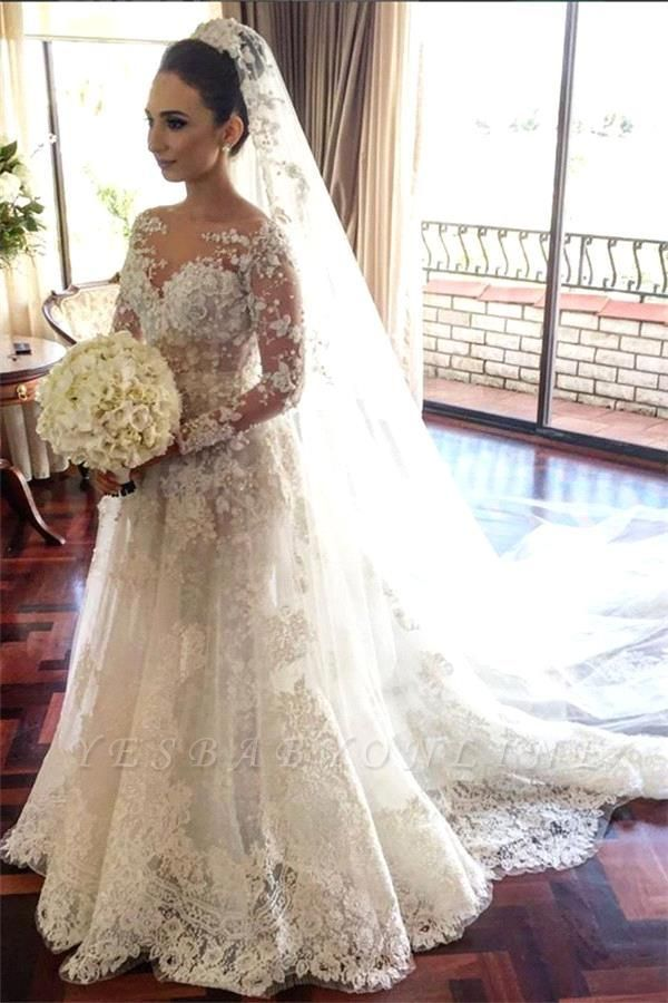 Royal Tulle Lace Glamorous Beadings Long  Sleeves Wedding Dress