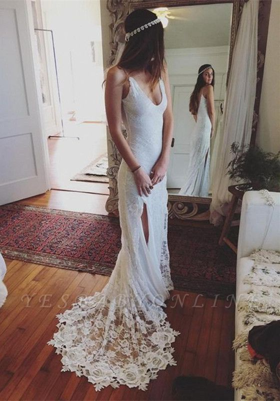 Sleeveless V-Neck Lace Split Glamorous Beach Wedding Dress