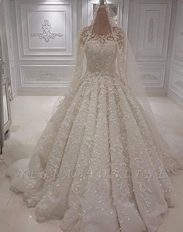Gorgeous Jewel Long Sleeve Lace Beaded Ruffle Ball Gown Wedding Dresses