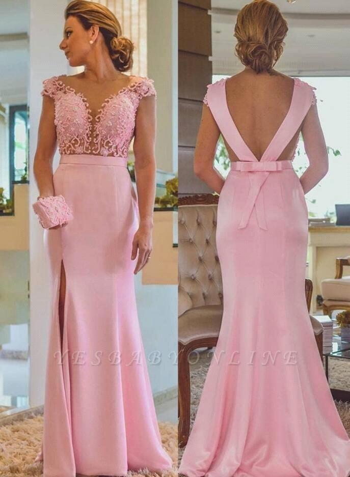 Pink Sheath Lace Evening Dresses | Cap Sleeves Open Back Side Slit Formal Dress