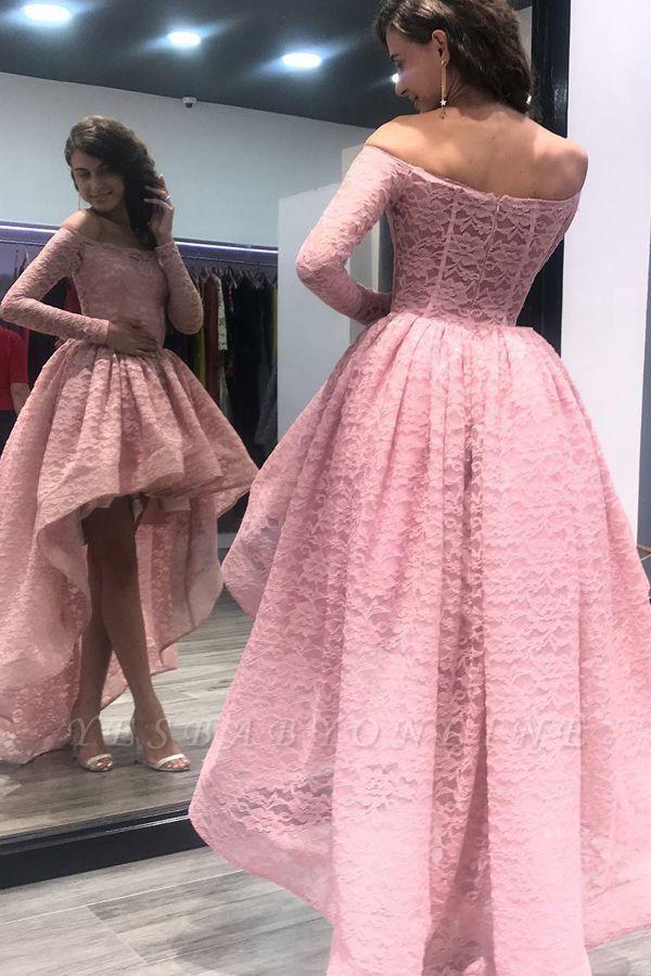 Hi-Lo Zipper Long-Sleeves Bateau Prom Dress