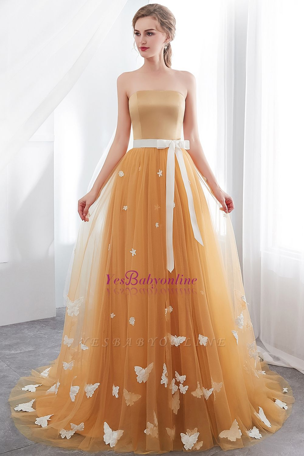 Fashion Sheath Gold Long Floor-Length Sash Evening Dresses